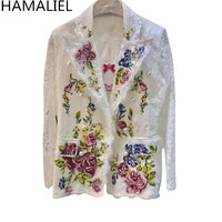 HAMALIEL Luxruy Women Lace White Blazer Coat 2018 Summer Embroidery Floral Pearl Double Breasted Long Sleeve