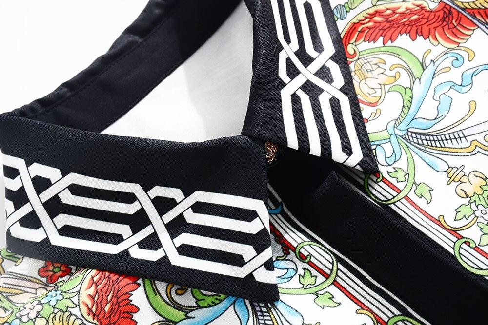 Midi Vintage Estampado 2018 De Alta Vestido Qyfcioufu Pasarela Cintura Manga Delgado Diseñador Azul Femenino Para Larga Floral Otoño Mujer 4wZxa7qxp