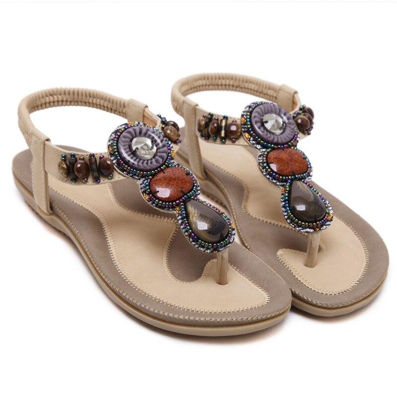 35 B2 Femme Sandales Chaussures Kaki 7 Grande Perles Df Slip Femelle Y6gv7fIby