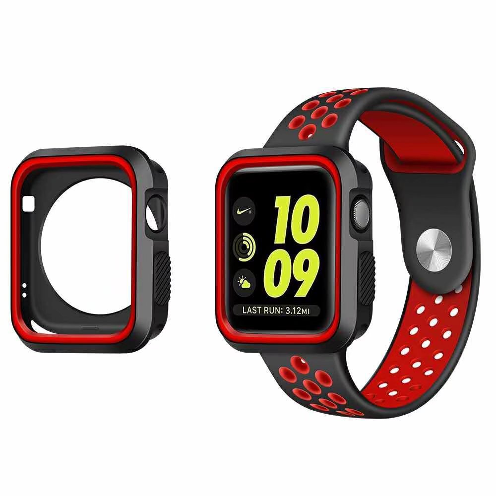 NIKE+ Silicone for Apple Strap Case Set for iWatch 42mm 38mm 2 in 1 + Silicone Strap Case for Apple Watch Series 4/3/2 42mm 38mm for apple watch s3 series 3