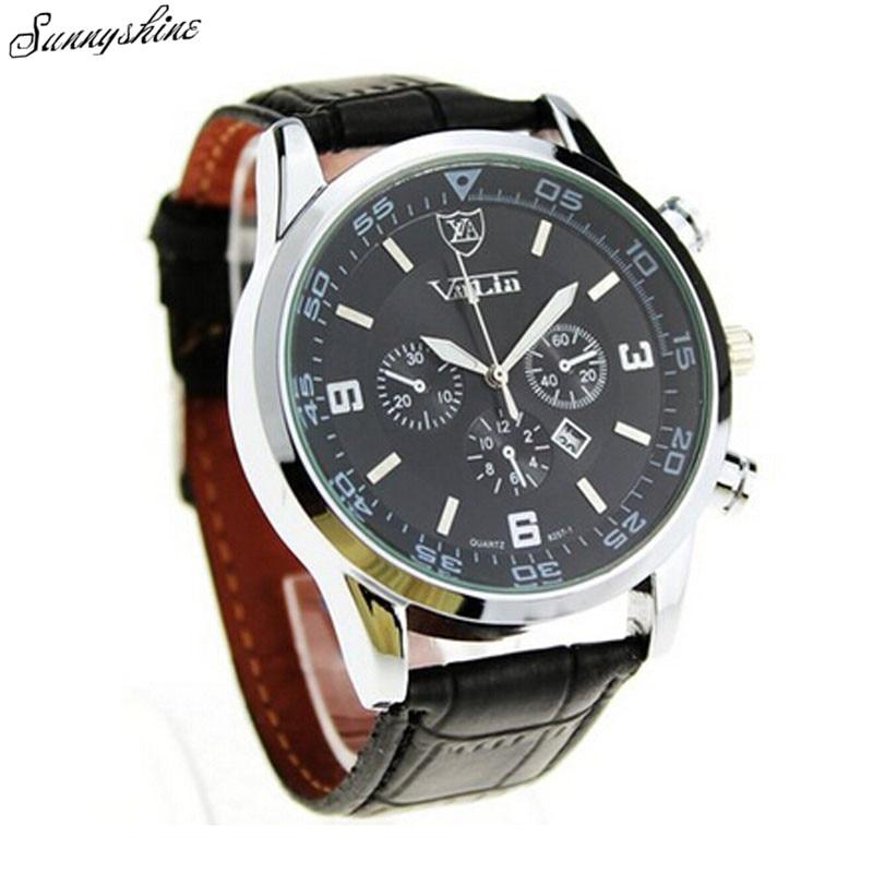 a09ff2ef7 Genérico de Quartzo Relógios Militar Auto Data relógio de pulso de Couro  dos homens de Negócios por atacado vF3