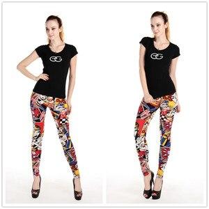 Image 2 - Legginsy damskie wysokiej talii komiks kreskówka spodnie z nadrukiem miękkie kobiece spodnie elastyczne na co dzień