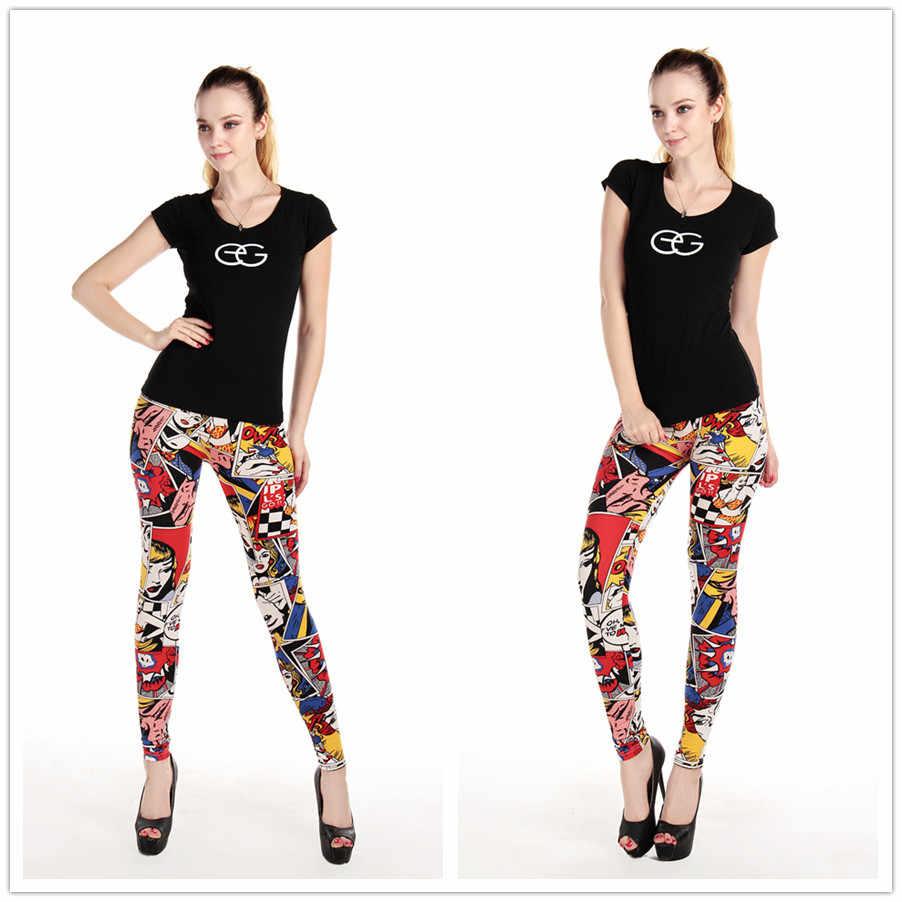 Legginsy damskie wysokiej talii komiks kreskówka spodnie z nadrukiem miękkie kobiece spodnie elastyczne na co dzień