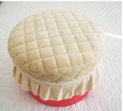 grid pattern Short plush quilted round stool mat seat cushion seat mat