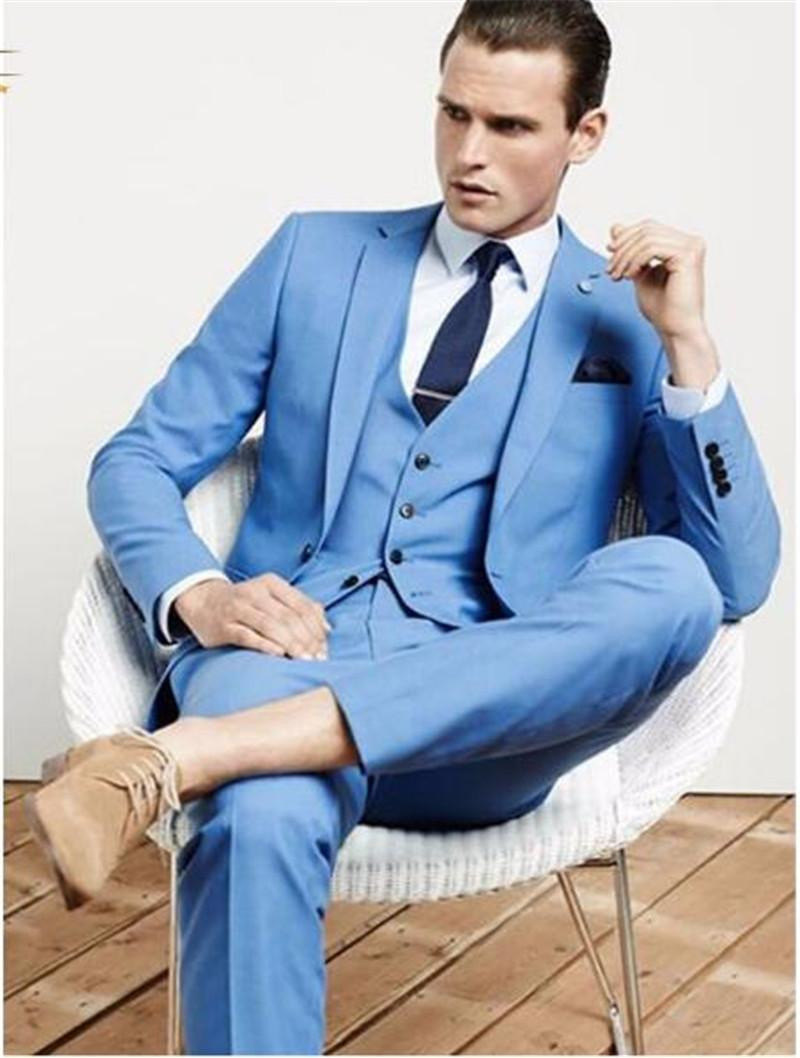 New Arrival Sky Blue Groom Tuxedos Groomsmen Mens Wedding Suits ...
