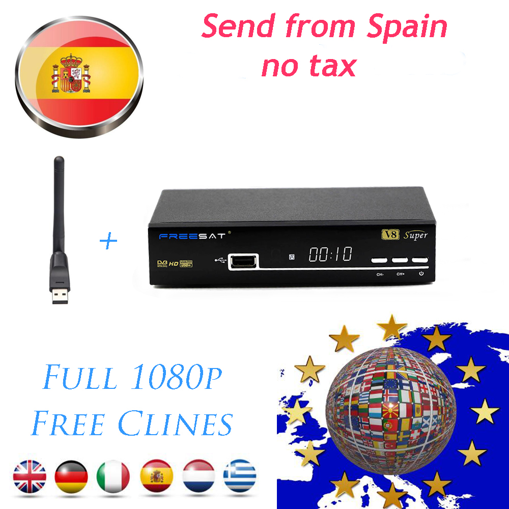 Free sat Satellite TV Receiver Freesat V8 Super Receptor HD DVB-S2 Support PowerVu Biss Key Cccamd Newcamd Youtube with USB WIFI