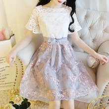 Womens Embroidery Floral Dress Lace Patchwork Sashes Mini A Line Korean Princess