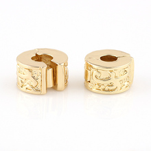 Gold Copper Stopper strip Abstract lovely Clip Lock European Bead Round Chamilia DIY Charm Beads Fit For Charms Bracelet charm faux aquamarine longevity lock bead bracelet