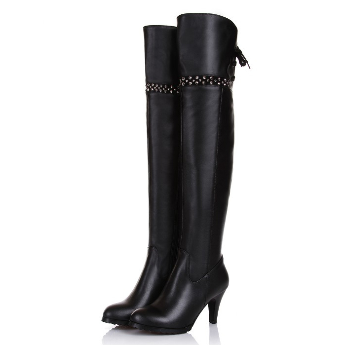 2017 Winter Genuine Leather Women's over the knee boots fashion high Heels platform Riding boots for women EUR size:31-45 ppnu woman winter nubuck genuine leather over the knee snow boots women fashion womens suede thigh high boots ladies shoes flats