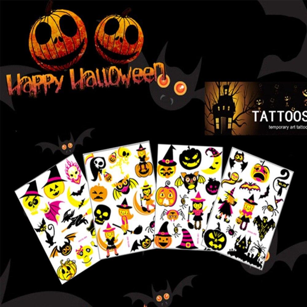 Small Luminous Halloween Temporary Body Art Tattoo Sticker