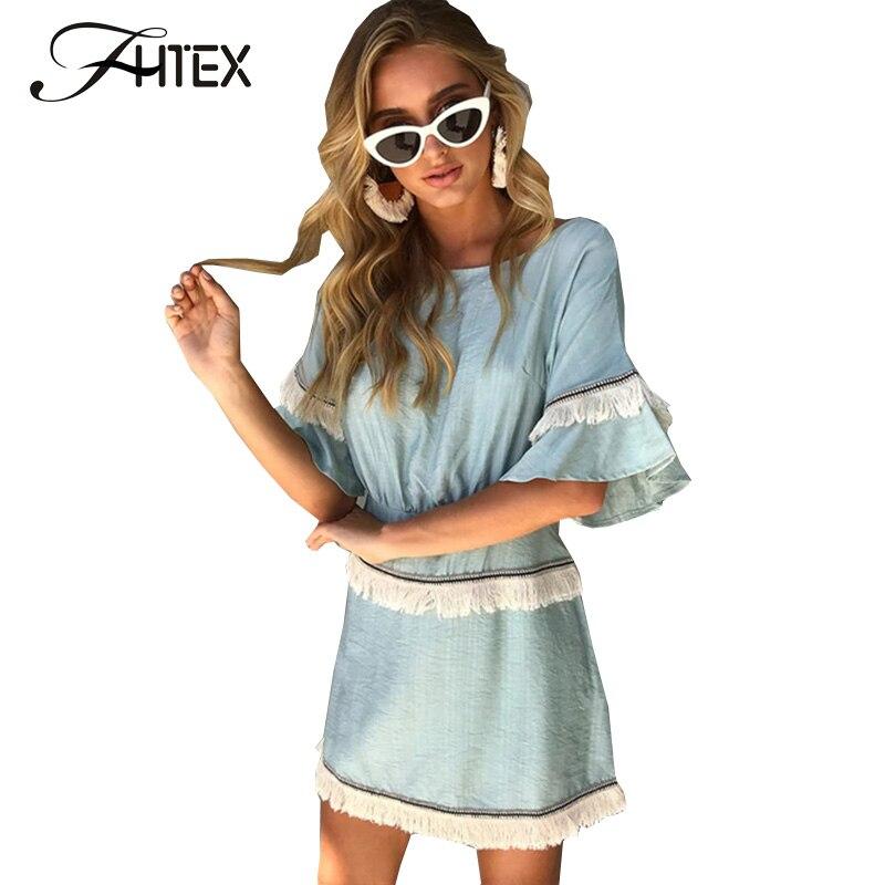 Women's Clothing Fhtex Women Sweet Tassel Patchwork Slim Casual Dress Fashion Flare Sleeve Tunic Autumn Dress 2018 Ladies Party Dress