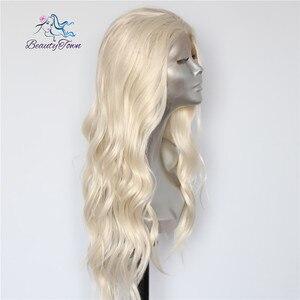 Image 3 - Красивые светлые бежевые натуральные волнистые термостойкие волосы BeautyTown для женщин, ежедневный макияж, Свадебная вечеринка, подарок, синтетические кружевные передние парики