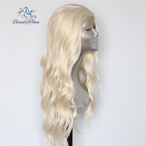 Image 3 - BeautyTown Blonde Beige Natural Water Wave Heat Resistant Hair Women Daily Makeup Wedding Party Gift Synthetic Lace Front Wigs