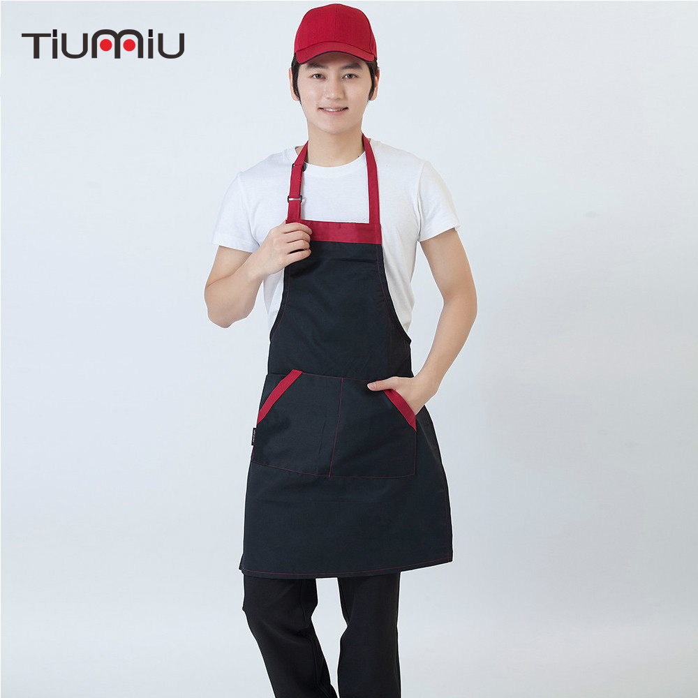 Wholesale Food Service Apron Unisex Spliced Color Adjustable Halter Neck Restaurant Kitchen Bakery Cooking Waiter Work Uniform