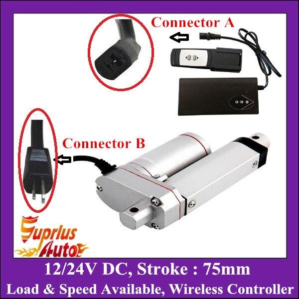 Télécommande sans fil avec 75mm course 12 V ou 24 V actionneur linéaire, 100/250/350/450/600/900/1000/1200/1500N charge lourde moteur