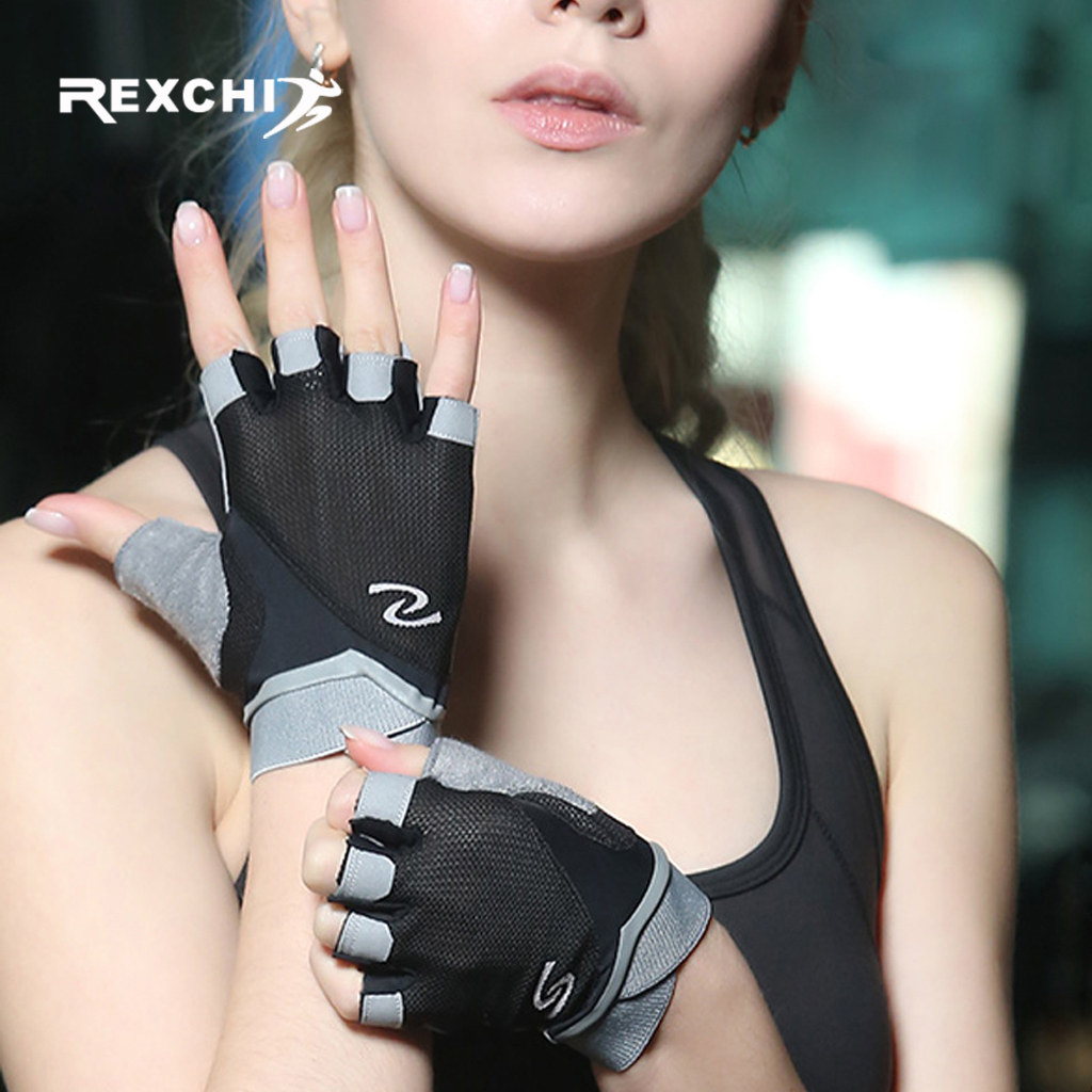 REXCHI Gym Fitness Gloves Half Finger Hand Protector For Women Men Yoga Power Weight Lifting Crossfit Workout Bodybuilding