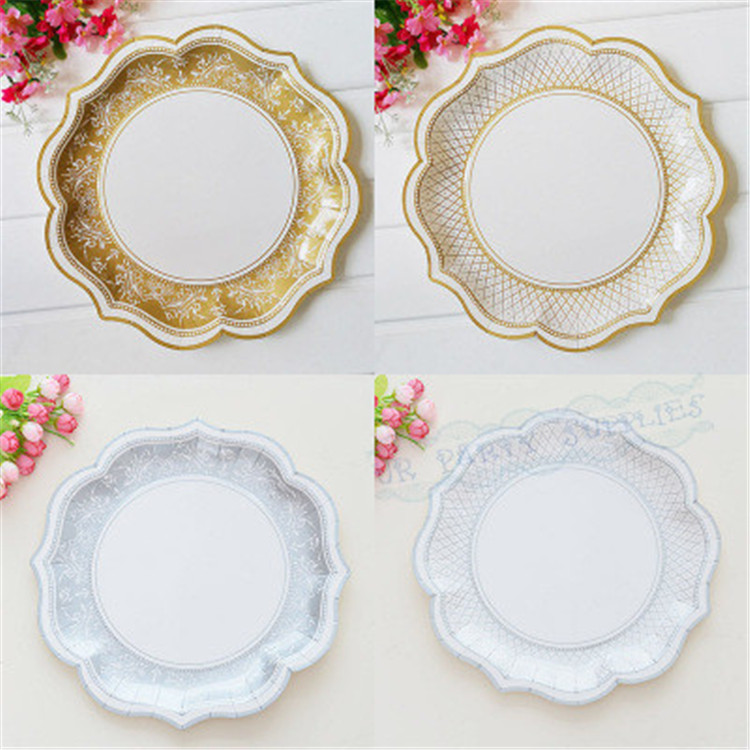 12pcs Silver Retro Paper Plates Vintage Party Decoration Supplies Flowers Disposable Tableware House Moving Paper Plates-in Disposable Party Tableware from ...  sc 1 st  AliExpress.com & 12pcs Silver Retro Paper Plates Vintage Party Decoration Supplies ...