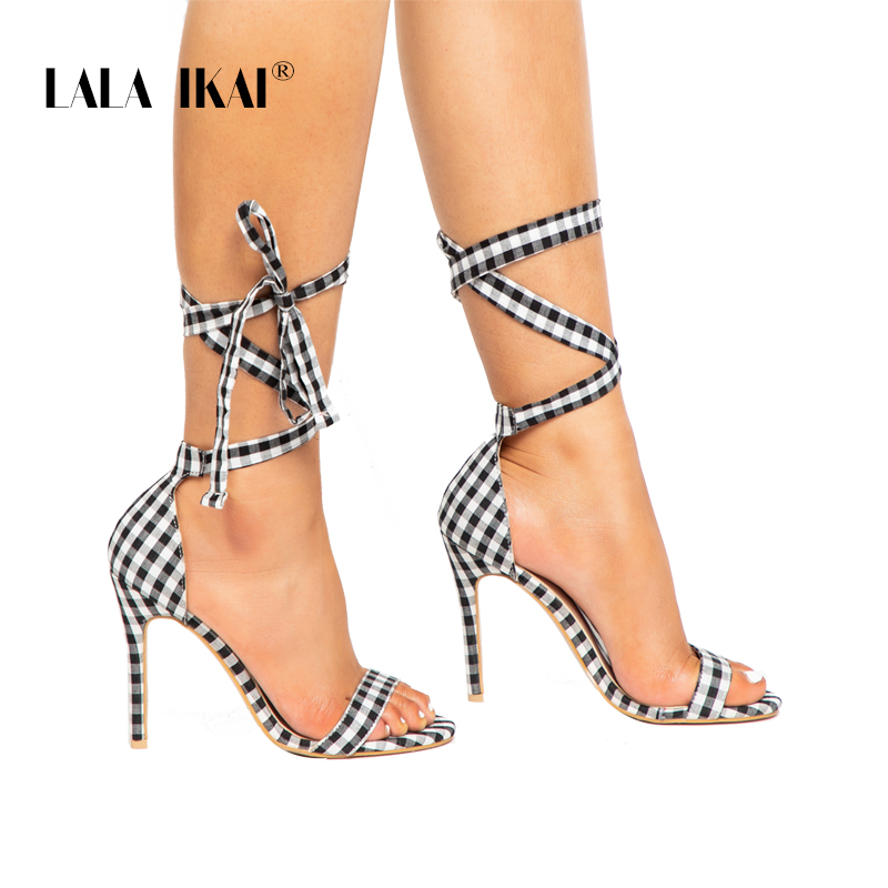 LALA IKAI Scottish Plaid High Sandals Women Cross-Tied Heels Ladies Ankle Strap Lace Up Party Bow High Shoes 014C1880-3