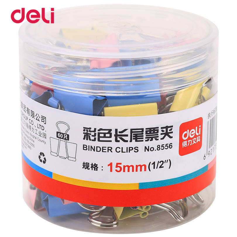Deli Paper Clip Metal Office Accessories Binder Clips 60pcs A barrel 15mm School Supplies Colorful Long Clips 8556 Paper Clips new 8585 candy colorful thresher purse 19mm custom shaped stainless steel metal binder clips for papers newspapers magazine card