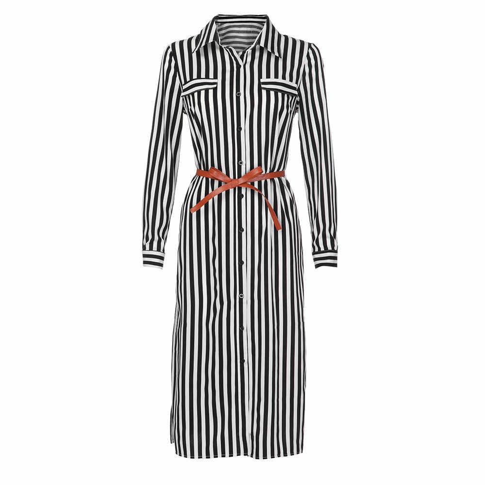 Hxroolrp Бандажное платье рубашка платье длинный рукав рубашка с отложным воротником, на пуговицах, с поясом, платье миди платье в полоску из коллекции Moda Mujer F1
