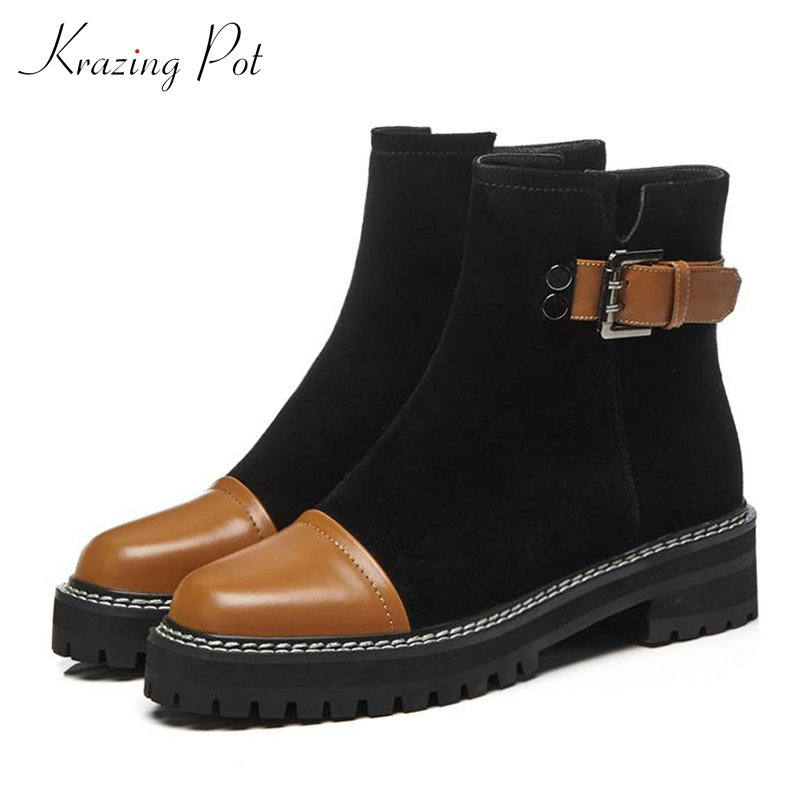 Krazing Pot 2018 genuine leather cow suede round toe thick heels metal buckle handsome preppy style career work ankle boots L92 krazing pot genuine leather 2018 round toe high heels metal fasteners motorcycle boots mature women round buckle ankle boots l26