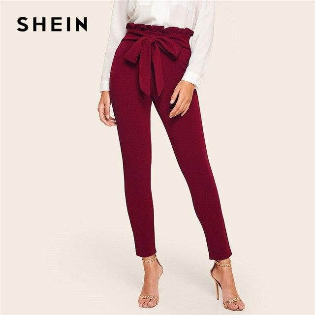 SHEIN Elegant Frill Trim Belted รายละเอียด Solid High เอวกางเกงเสื้อผ้าผู้หญิงแฟชั่นเอวยางยืดผอมกางเกงแครอท
