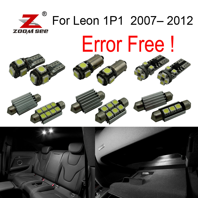 11pc X LED  Reverse backup bulb + Interior dome map Light Kit Package for Seat for Leon 1P1  2007-2012 car 5630 smd interior map dome trunk light led bulb white led kit package for volvo 850 1991 1995 with install tools