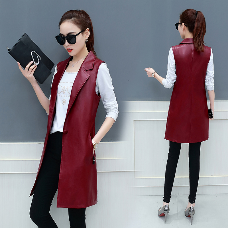 Spring and Autumn New Korean Slim Women's Suit Collar Solid Color PU Leather Large Size Medium Long Vest Jacket JQ84