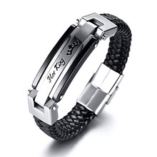 Large PU Leather Mens Bracelet European and American Black Accessories Lovers