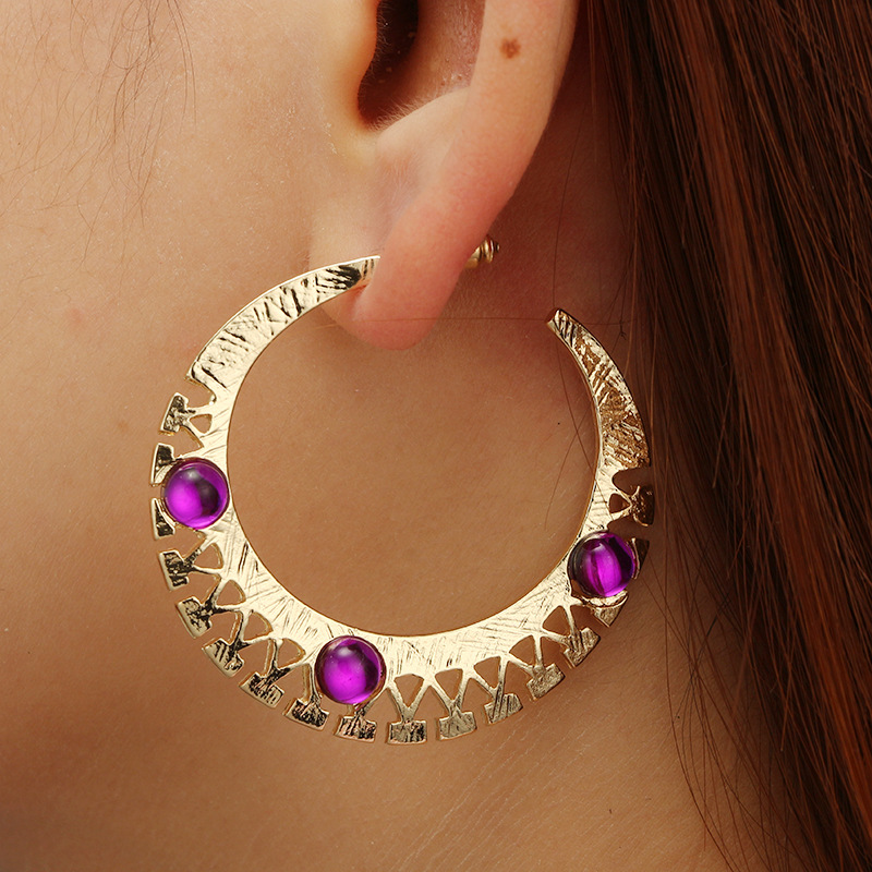 2018 Vintage Purple Beads Circle Round Hoop Earring for Women Geometric Gear Statement Pendientes Brincos Moon Fashion Jewelry