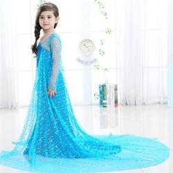 Kids Dresses For Girls 2018 Long Gauze Paillette Princess Frozen Birthday Girl Costume Girls Clothing
