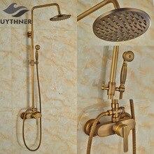 Newly Wall Mount Bath Shower Faucet w/ Hand Shower Antique Brass 8