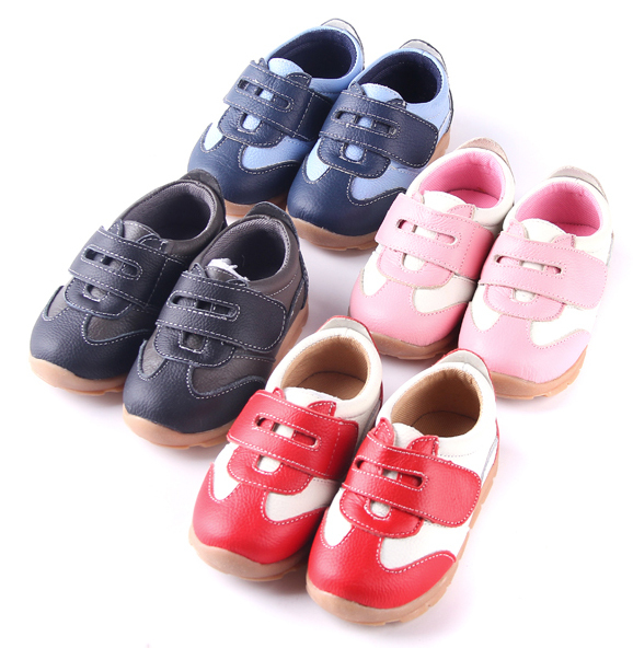 SandQ baby Boys sneakers soccers shoes girls sneakers Children leather shoes pink red black navy genuine leather flexible sole