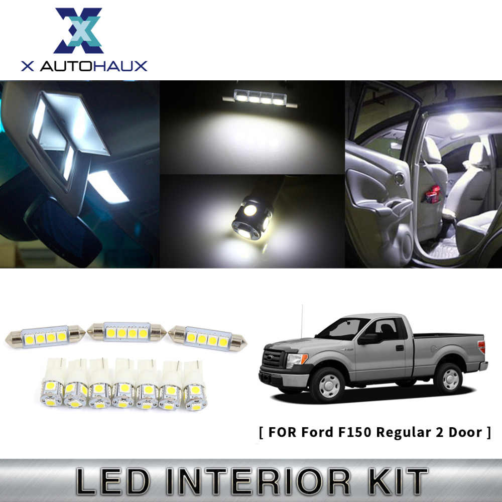 X AUTOHAUX 10PCS(7XT10+3X41mm) White Car Parking Reverse Lamp LED Interior Lights Kit For Ford F150 Regular 2 Door 2009 TO 2011
