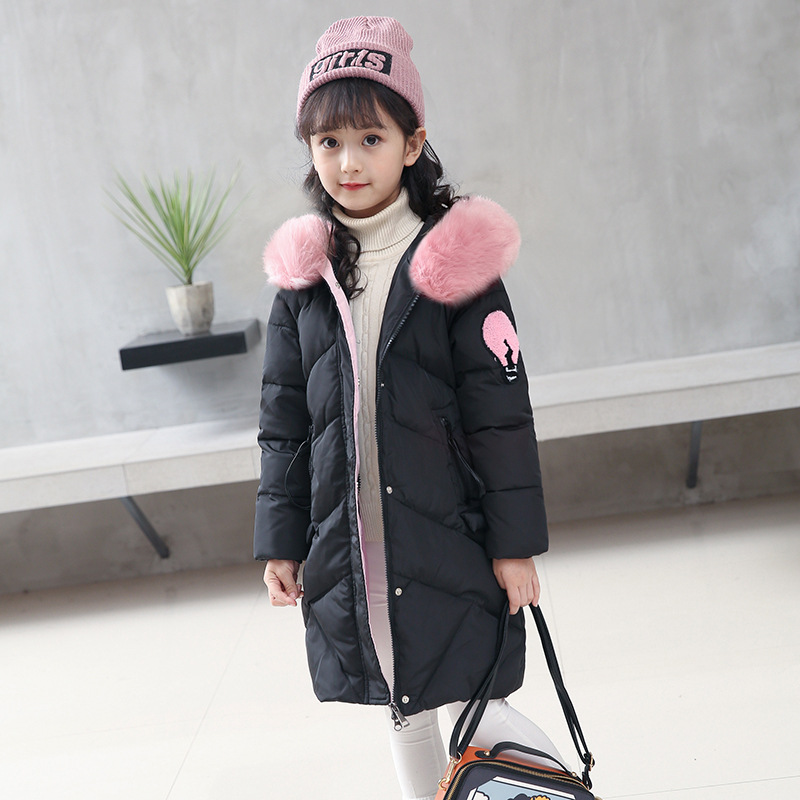 Europe and the United States New Cotton Girl Down In Autumn and Winter In Thick Even Warm Cotton Padded Jacket Cap for Children цена