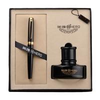Hero Fountain Pen Ink Bottle Gift Set Luxury Business Gift Stationery F Nib 0.5mm Ink Pens for Men Women School Office Supplies