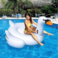 White Summer Lake Swimming Water Swan For Pool Float Lounge Kid Giant Rideable Inflatable Pool Toys