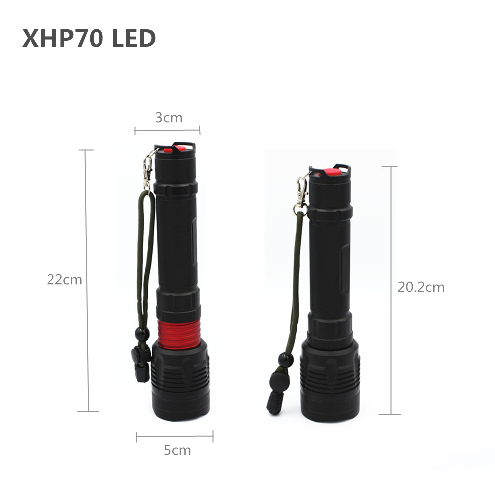 Купить с кэшбэком 3000 Lumen flashlight xhp70 powerful Zoom hunting light camping light Aluminum material quality 3 mode torch