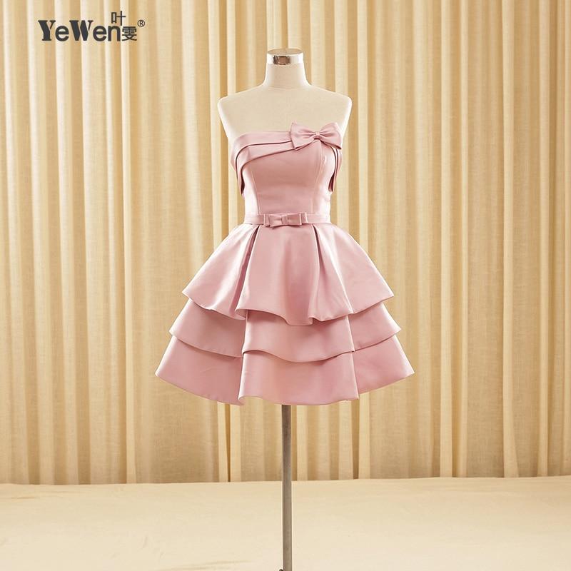 Champán rosado rojo Niñas corta Vestidos de cóctel mini vestido de ...