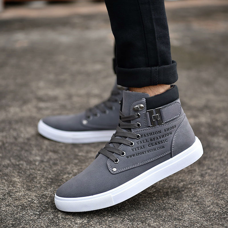 a582f4301f0 US $9.19 54% OFF|Hot 2019 Spring Autumn Lace Up Men's Canvas Shoes Big Size  Man Buckle Casual Ankle Boots Winter Fashion Leather Shoes Mens Flats-in ...