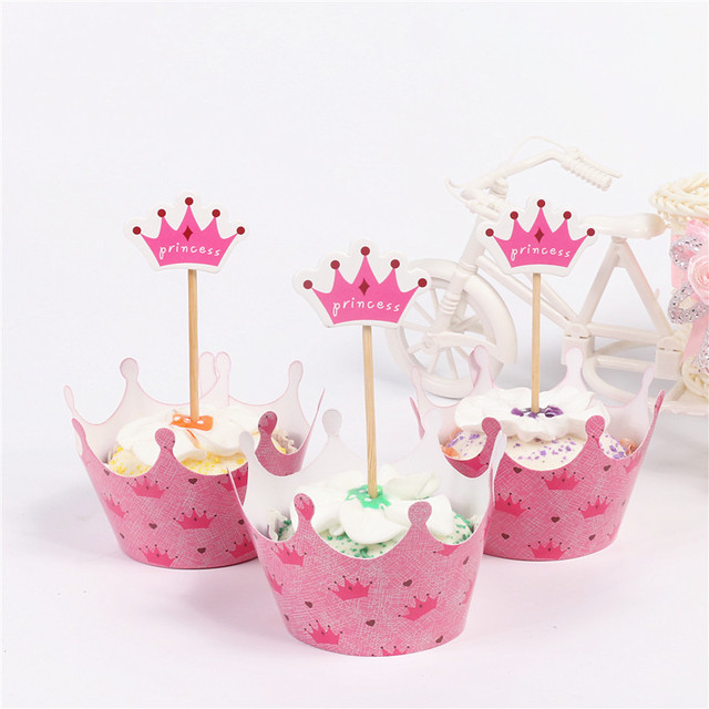 Neue Baby Rosa Prinzessin Crown Cupcake 12 Wrapper 12 Topper