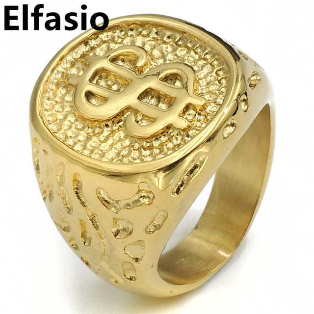 Mens Boys Gold Money Cash Sign Stainless Steel Ring Fashion
