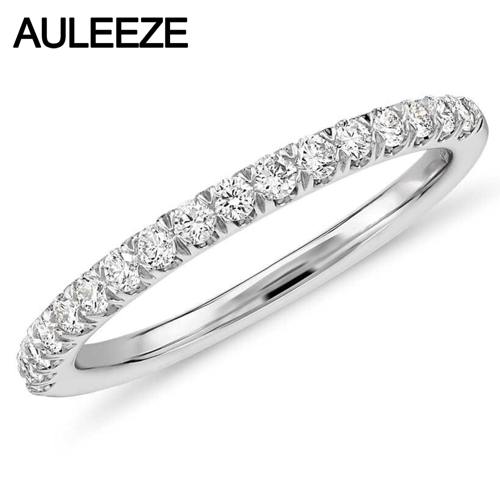 Fine Jewelry VS Real Diamond Wedding Band 18K Solid White Gold Matching Wedding Rings 0 36cttw