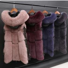 Зимняя женская куртка, искусственный Лисий мех, жилет, пальто с капюшоном, меховой жилет, боковая молния, стежка, кожаная верхняя одежда, Женский искусственный жилет K1115