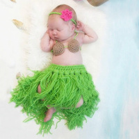 Newborn photography props grass skirts hula skirt headband set baby photo accessories beach style infant studio shoot fotografia