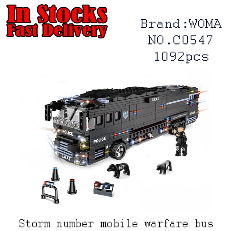 WOMA Military SWAT Team Storm Action Battle Bus C0547 1092pcs Building Blocks Bricks educational toys for children brinquedos military swat team city police armed