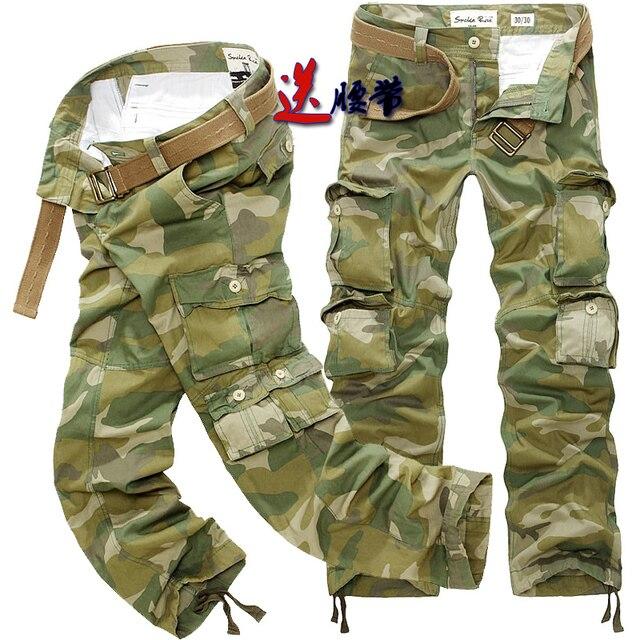 Hot Sale Men's Cargo Pants Multi-Pocket Camouflage Men Cargo Pants Casual Military Fashion Men Trousers Free Belt Plus Size 40