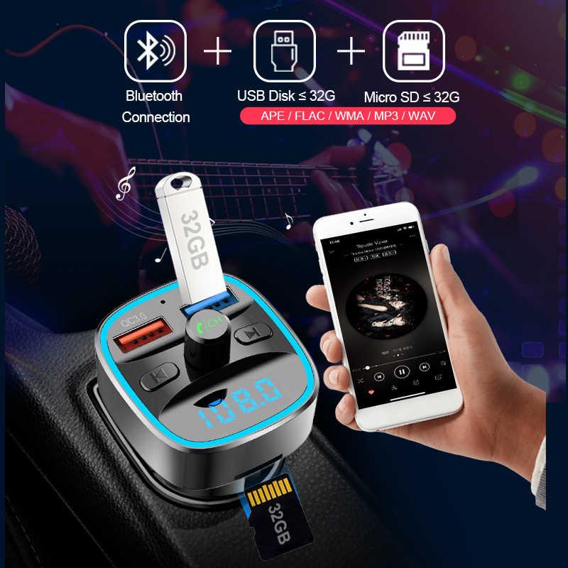 CDEN xe mp3 máy nghe nhạc QC3.0 car charger Bluetooth 5.0 FM transmitter U đĩa/TF thẻ lossless âm nhạc hands-free gọi điện thoại miễn phí