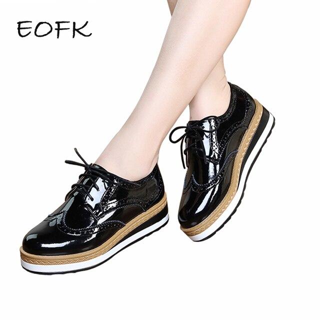 99dba74b6 EOFK/Весенняя кожаная женская обувь на плоской платформе с перфорацией типа  «броги»,