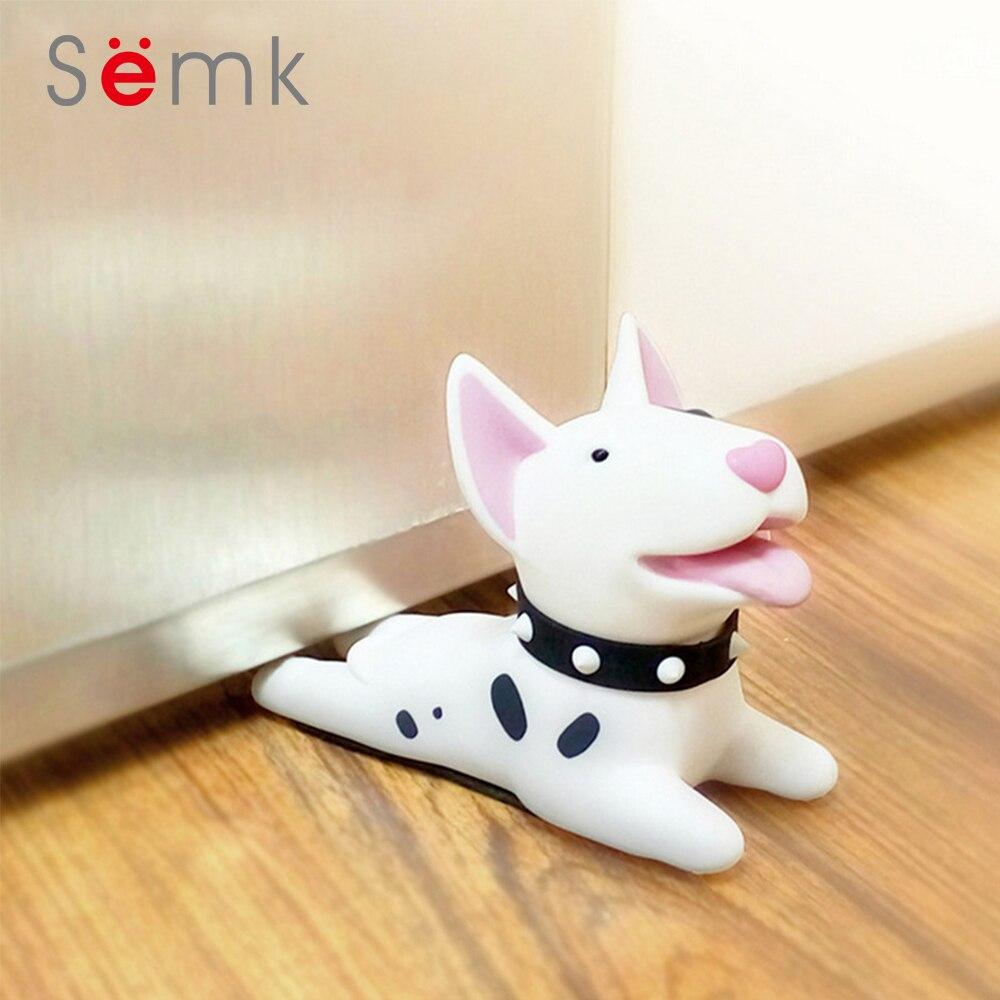Semk Cute Cartoon Dog Door Stopper Holder Bull Terrier PVC safety for baby Home decoration Dog Anime Figures Toys for Children